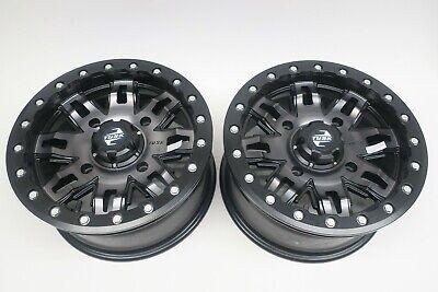 TWO - 4/156 Tusk Teton Beadlock Wheels 15x7 5.0 + 2.0 Gun Metal/Black