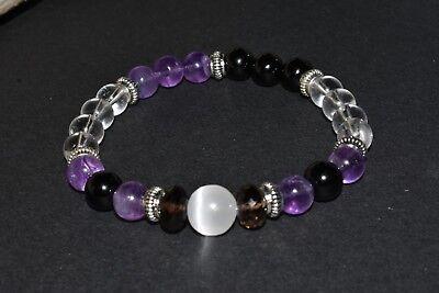 Selenite Smoky Clear Quartz Bracelet Amethyst Crystal Healing Angelic Protection
