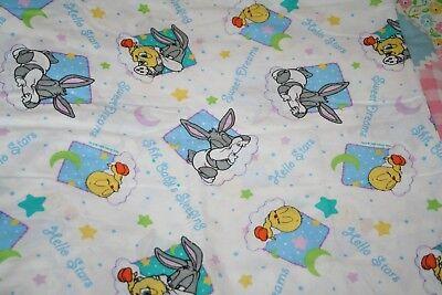 VINTAGE BABY BUGS BUNNY TWEETY BIRD WARNER BROS FABRIC 1998 NURSERY ()