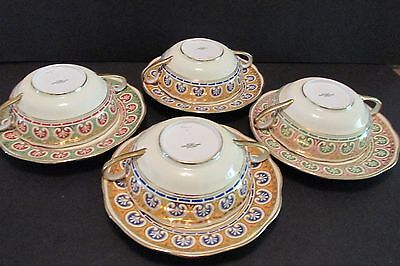 4 Antique Spode Copeland CREAM SOUP CUPS & SAUCERS Hand Painted Egyptian Revival
