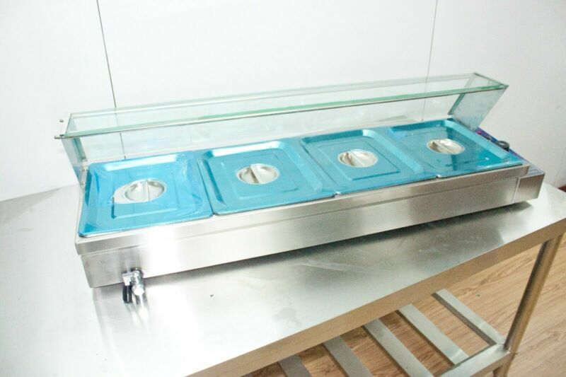 Food Insulation Equipment!110V 4-Pan Commercial Buffet Food Warmer US Stock