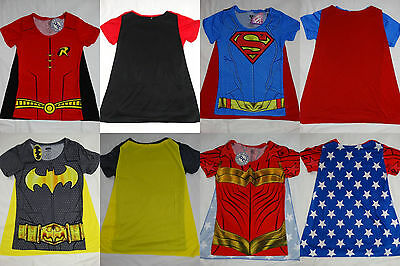 Superman Batman Robin Wonder Woman DC Sublimation Caped Costume Junior T-Shirt](Batman Woman Costume)