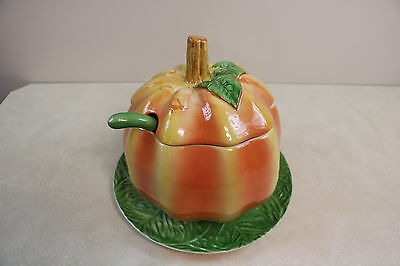 Harvest Halloween Thanksgiving Pumpkin Soup Tureen With Ladle & Platter Portugal](Halloween Ladle)