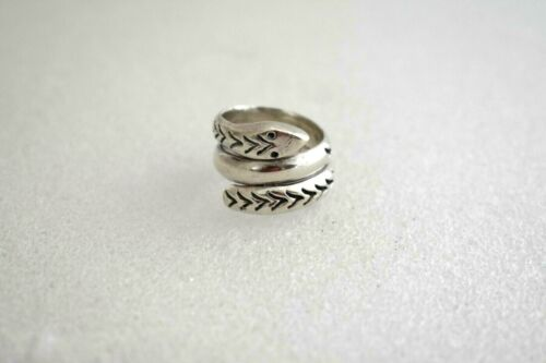 Signed MWS Mexico Sterling Silver Snake Wrap Ring Size: 6.5