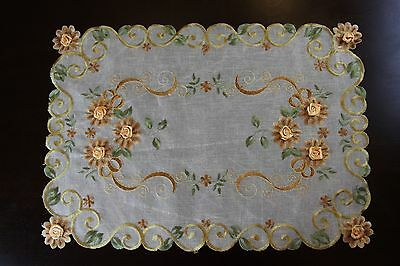 Organza Fabric Handmade Yellow Daisy Embroidery Floral Placemat Table Mat (Organza Daisy)