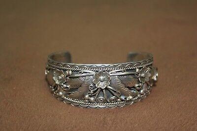 F JAMES Prewitt Sterling Silver  Ornate Flower Leaf Cuff Bracelet
