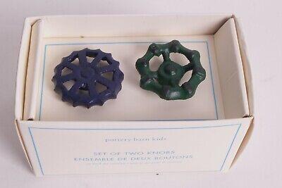 s/2 Pottery Barn Kids Spigot Knobs Drawer Pulls cabinet green navy -