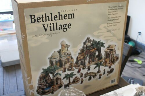 Rare 2005 Porcelain Bethlehem Village Nativity Set 22 Figures + Box - Gorgeous!