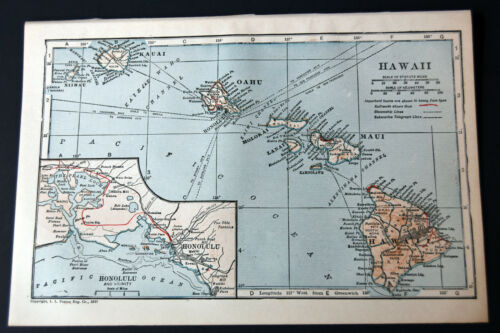 "1921 Antique ORIGINAL 9"" Hawaii Map Pacific Ocean Honolulu Maui Oahu"