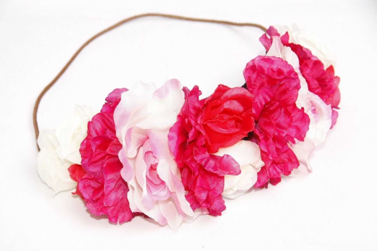 Fuchsia Pink Red Cream Large Flower Crown Festival Occasion Hair
