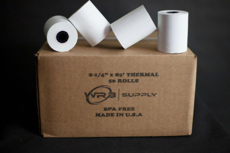 Thermal Rolls, 2.25 X 85 Feet, White, 50 Rolls, FREE SHIPPING