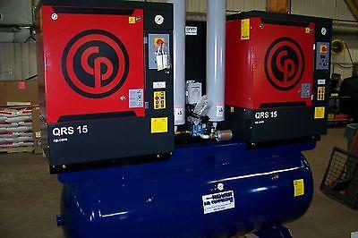 Chicago Pneumatic Air Compressor Duplex 30 Hp Rotary Screw W Desiccant Dryer