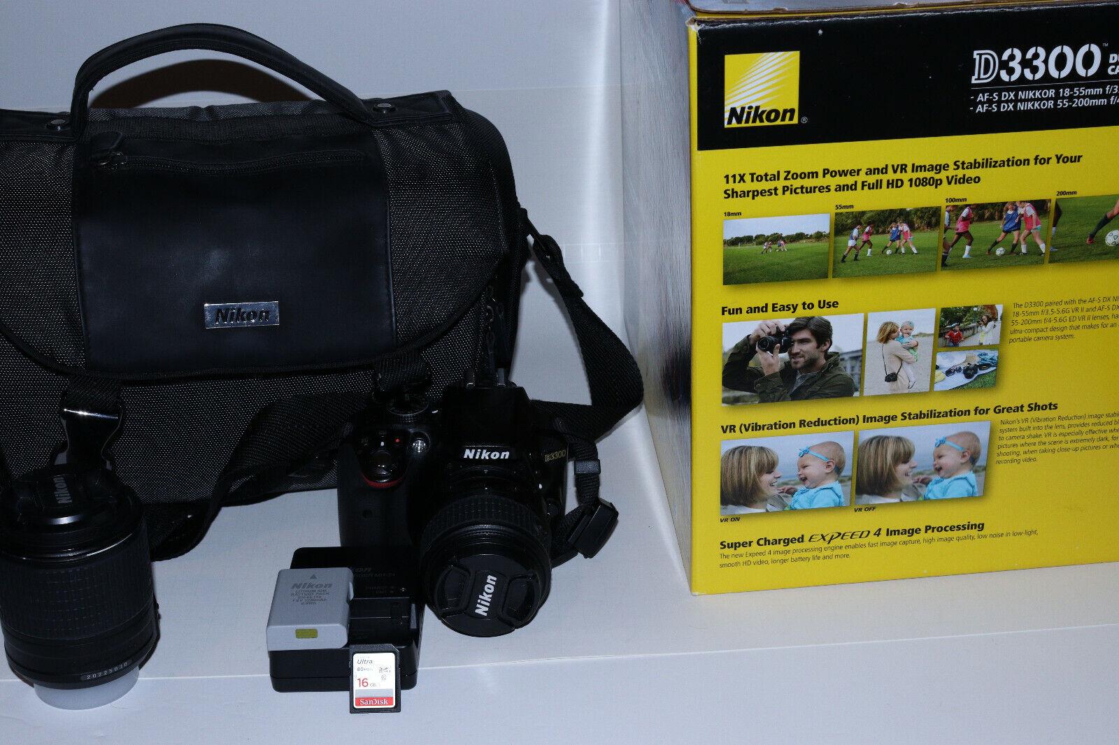 Nikon D3300 24.2MP DSLR Camera Kit W/ 18-55mm 55-200mm Lens, WiFi, Bag More - $356.00