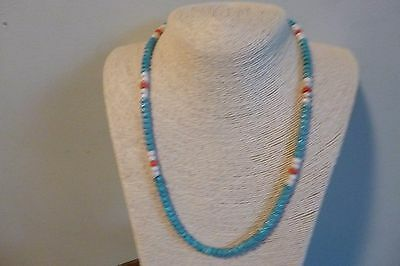 Turquoise And Coral Heishi Beads with Silver Native American Style  Necklace
