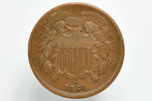 1864 Shield Two Cent Piece Large Motto