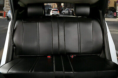 Black Leather Like Rear Car Seat Cover all type Split Bench for Kia #209 -