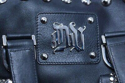 RARE VERSACE Donatella Versace DV Black Leather Studded Handbag