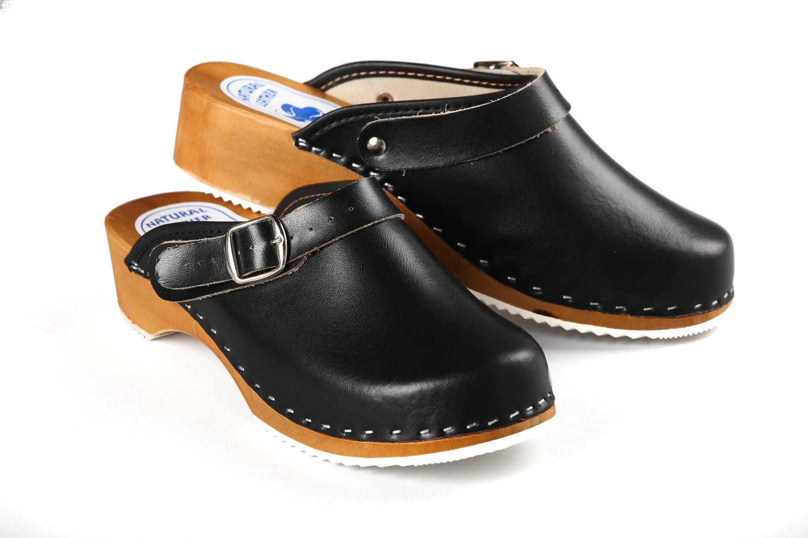 Womens Work Clogs Garden Kitchen Hospital Ladies Slip On Leather Shoes Mules Ebay
