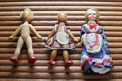 3 Vintage Toy Dolls Assorted Wood & Cloth Hand Painted
