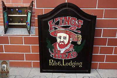 Dartschrank Holz Wandschrank Handwerksarbeit Kings Pub & Loading Pfeile Gratis