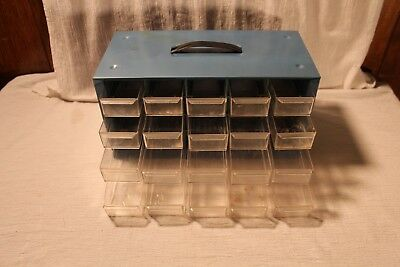 Vintage Steel Akro Mils 20 Drawer Parts Bin Storage Cabinet