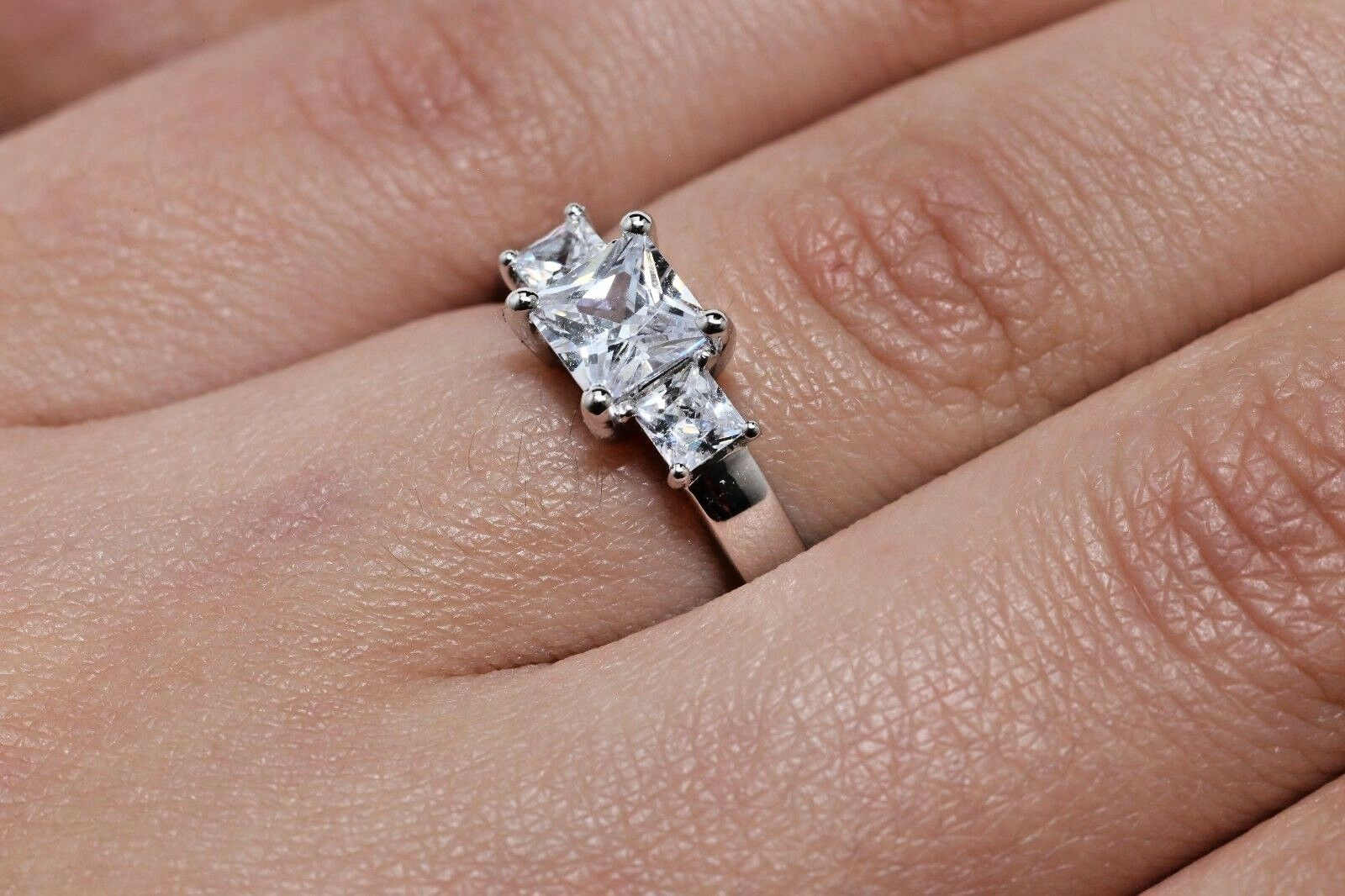 2ct Princess Cut Solitaire Diamond Engagement Ring 14kt White Gold ...