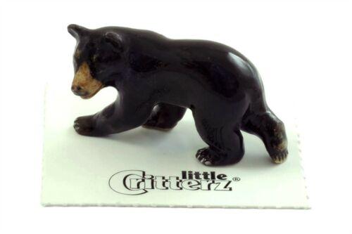 ➸ LITTLE CRITTERZ Forest Animal Miniature Figurine Black Bear Blueberry