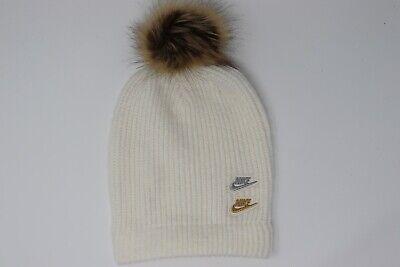 Nike Women's Knit Pom Beanie Faux Fur Cap White Gold Silver CK2388-110 NEW