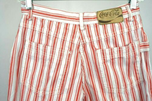 Vintage High Waisted Coca-Cola Red and White Striped Denim Jeans 26X28