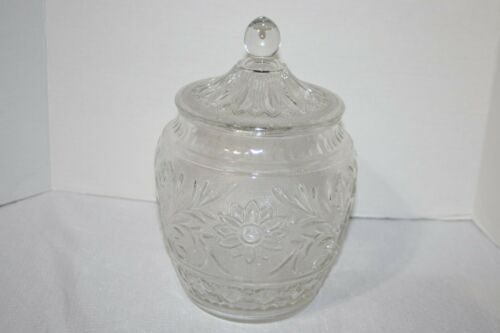 """Lovely Vintage Anchor Hocking """"Daisy"""" Clear Glass Biscuit Cookie Jar w/ Lid"""