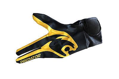 PREDATOR 3 Finger Billard Handschuh mit Panter Kopf schwarz-gelb  L-XL  NEU