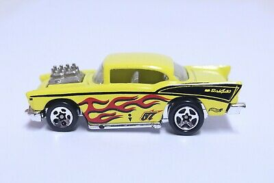 HOT WHEELS '57 CHEVY BEL AIR VERY NICE YELLOW/BLACK W/ RED FLAMES