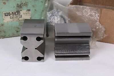 Enco 2-34 X 2-12 X 1-34 Paired Vee Blocks Clamp In Slot Set - Used Excellent