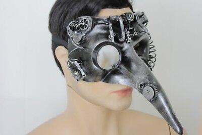 Men Women Half Face Costume Mask Long Nose Bird Steam Punk Robot Parts Halloween (Robot Face Halloween)