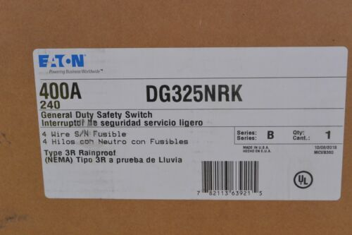 DG325NRK Eaton 400 amp 240 volt FUSIBLE OUTDOOR 3R Disconnect NEW in BOX