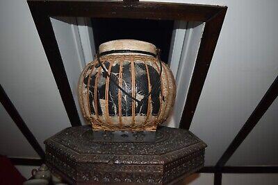Decorative Thai Rice Basket Hand Painted Asian Antiques