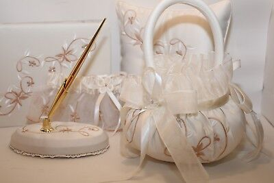 New Ivory Floral Wedding Accessories 5 Pieces Guest Book Pen Set Garter Ceremony (Wedding Book)