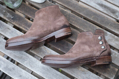 NEW ALBERTO FASCIANI Italy Handmade Brown Suede Ankle Boots, Anthropologie US 7