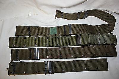 "US Military Issue Vietnam Era Brass Buckel Pistol Belt LARGE extends out to 52"""
