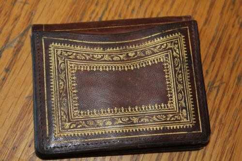 Wallet Vintage leather hand made card coin holder Made in Italy Antique tooled