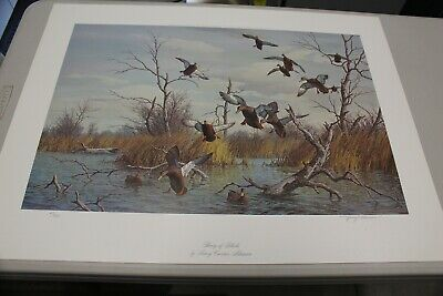"Harry Curieux Adamson Duck Print, ""Flurry of Blacks,"" Mint"