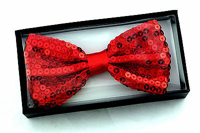Red Sequin Mens Bow Tie Adjustable Neck Fun Fashion Pre-Tied Gift Bowtie New
