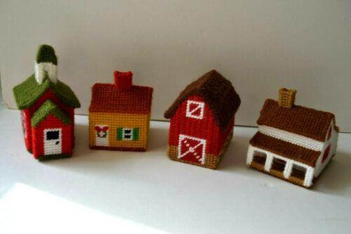 Vintage Handcrafted Christmas Village set of 4 Plastic Canvas Needlepoint