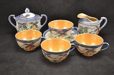 Vintage Japanese Lusterware Hand Painted Orange & Blue Tea Set            ND2958