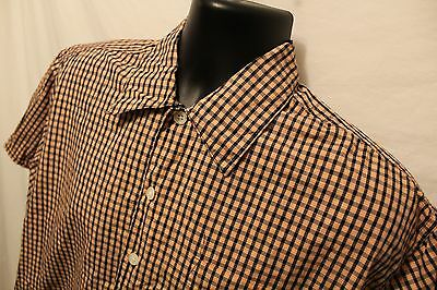 Expedition S/s Shirt (Men'sU.S. Expedition shirt Sz L Orange & Blue Plaid S/S 100% Cotton button front)
