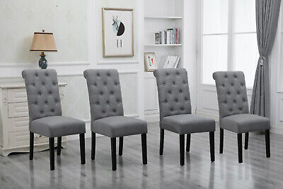 4× Button Tufted Dining Chairs Padded Seat Pine Wood Legs Linen Fabric Grey Home Button Tufted Seat