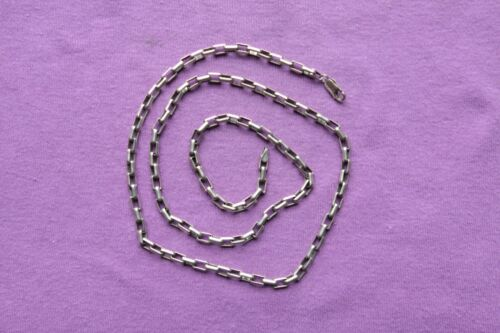 """Vintage Sterling Silver Long Box Chain 25.8 grams 24 3/8"""" long 4 mm wide"""