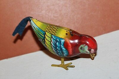 NICE VINTAGE 1940's or 1950's WIND UP COLORFUL PECKING BIRD U.S. ZONE GERMANY