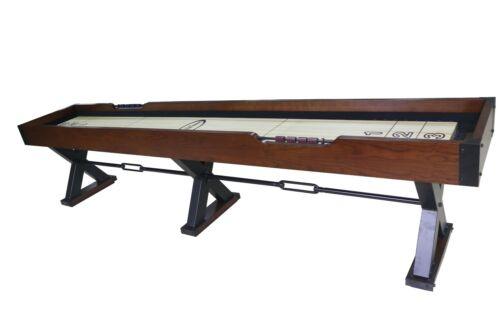 12 foot SHUFFLEBOARD TABLE THE X-TREME~BROWN w/BLACK METAL LEGS~BERNER BILLIARDS