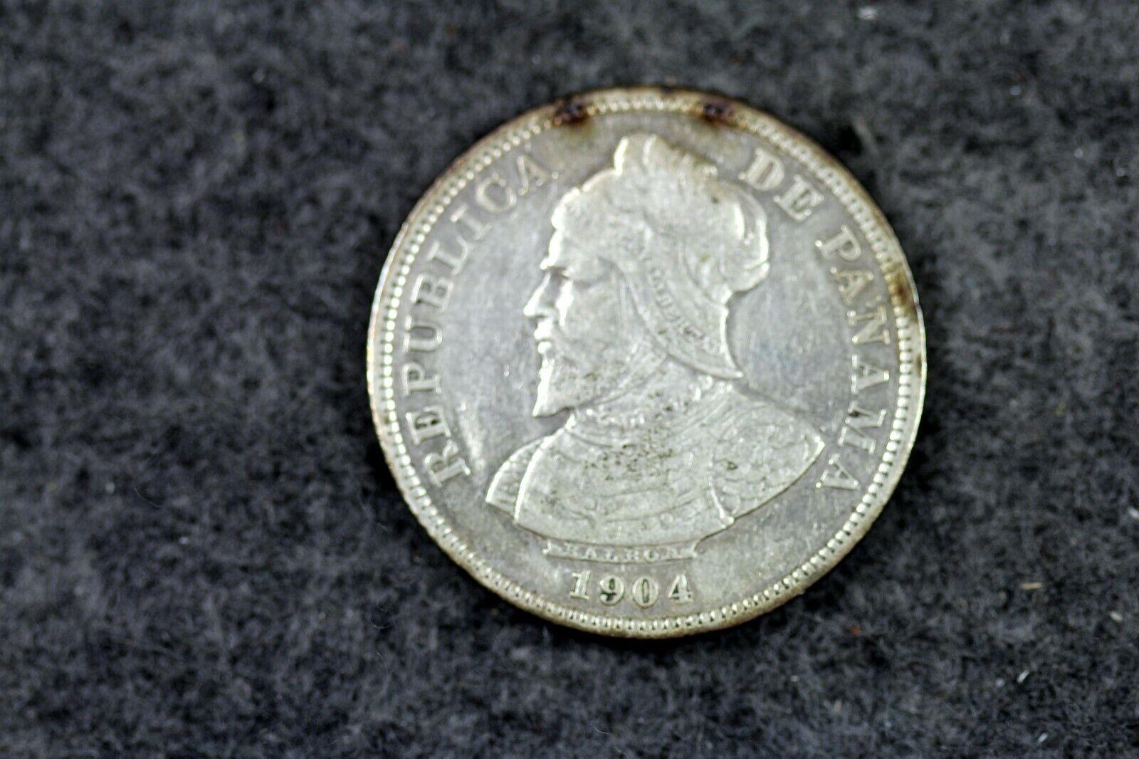 1904 - Panama Silver 25 Centesimos Coin J03178 - $20.00